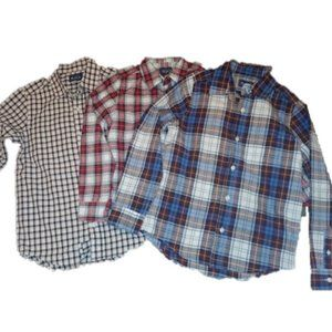 3 Plaid Long sleeve button down Boy's shirts.